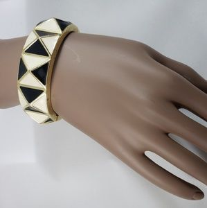 Jewelry - Black & White Enamel Bangle Bracelet Gold Tone